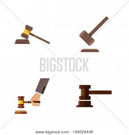 Flat Icon Hammer Set Of Crime, Government Building, Court And Other Vector Objects