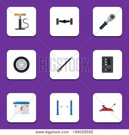 Flat Icon Auto Set Of Auto Jack, Automatic Transmission, Pipeline And Other Vector Objects