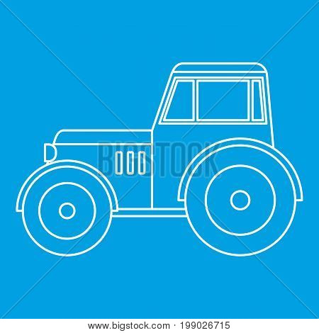 Tractor icon blue outline style isolated vector illustration. Thin line sign