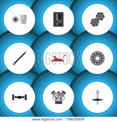 Flat Icon Auto Set Of Lifting, Automatic Transmission, Belt And Other Vector Objects