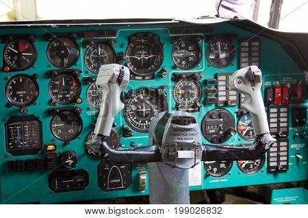 VORONEZH, RUSSIA - AUGUST 28, 2013: Cargo airplane IL-76M cockpit interior. Dashboard and steering wheel