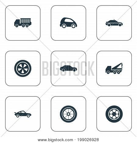 Elements Siren, Rotation, Faucet And Other Synonyms Rubber, Repair And Automotive.  Vector Illustration Set Of Simple Transport Icons.