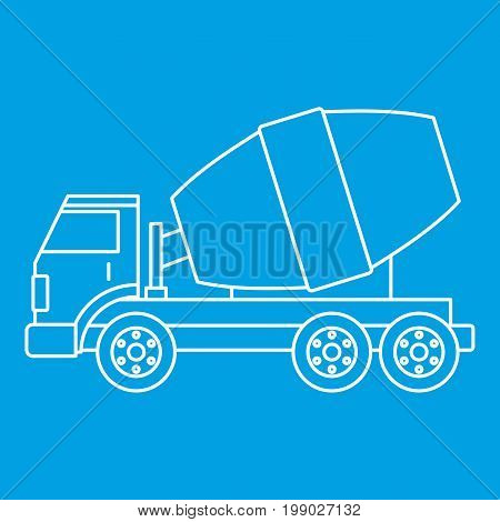 Truck concrete mixer icon blue outline style isolated vector illustration. Thin line sign