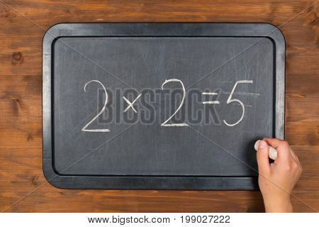 blackboard with wrong maths equation on wooden table and chalk in hand
