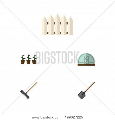 Flat Icon Dacha Set Of Harrow, Hothouse, Wooden Barrier And Other Vector Objects