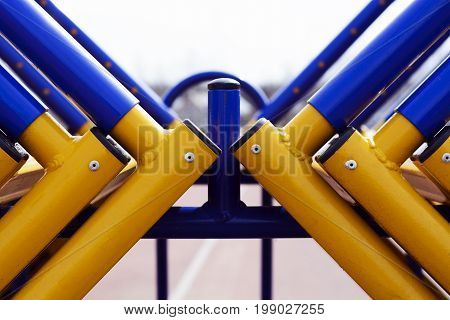 The Track And Field Barriers, Obstacles. Abstract Representation Of The Struggle Of Colors And Shape