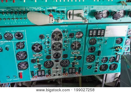 VORONEZH, RUSSIA - AUGUST 28, 2013: Inside airplane IL-76. Dashboard in the cockpit