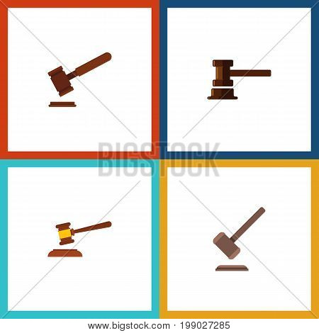 Flat Icon Lawyer Set Of Justice, Hammer, Government Building And Other Vector Objects