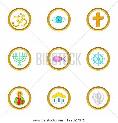 Religion symbols icons set. Cartoon set of 9 religion symbols vector icons for web isolated on white background