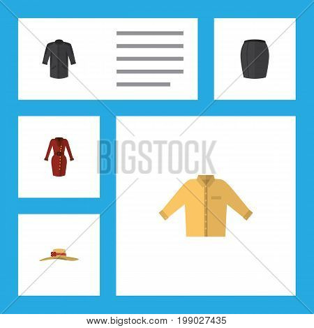 Flat Icon Garment Set Of Clothes, Banyan, Elegant Headgear And Other Vector Objects