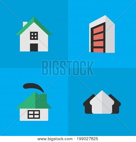 Elements Construction, Property, Dwelling And Other Synonyms Building, House And Real.  Vector Illustration Set Of Simple Real Icons.