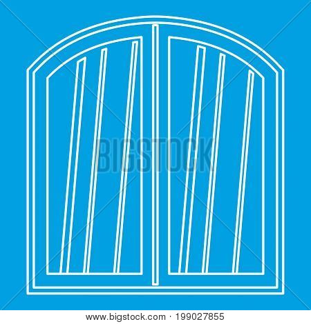 White window arched frame icon blue outline style isolated vector illustration. Thin line sign