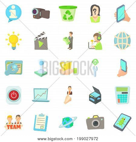 Geek icons set. Cartoon set of 25 geek vector icons for web isolated on white background