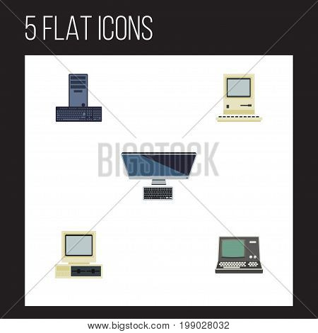 Flat Icon Computer Set Of PC, Computer, Computing And Other Vector Objects