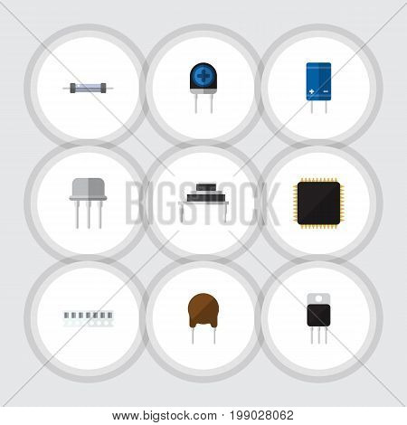 Flat Icon Technology Set Of Receiver, Resistor, Transducer And Other Vector Objects