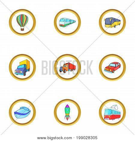 New vehicle icons set. Cartoon set of 9 new vehicle vector icons for web isolated on white background