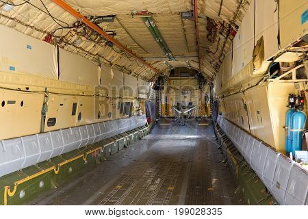 Inside the cargo bay of the aircraft IL-76
