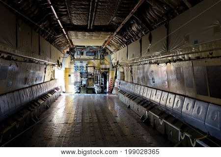 Inside the cargo bay of the aircraft IL-76.