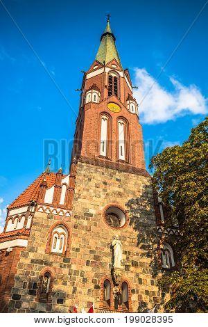 Sopot Poland - Garrison Church tower religious architecture.