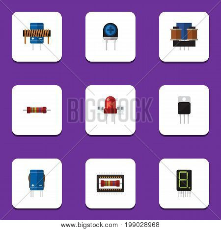 Flat Icon Technology Set Of Mainframe, Transistor, Bobbin And Other Vector Objects