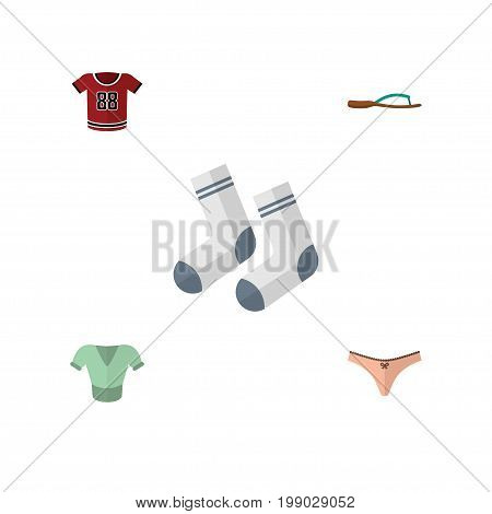 Flat Icon Clothes Set Of T-Shirt, Casual, Foot Textile And Other Vector Objects