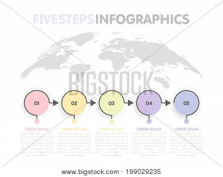 Business Infographics Template. Timeline With 5 Circle Arrow Steps, Five Number Options. World Map I