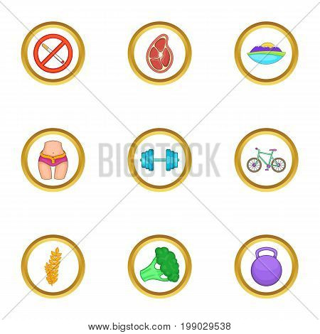Healthy lifestyle icons set. Cartoon set of 9 healthy lifestyle vector icons for web isolated on white background