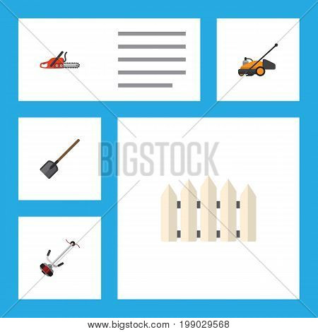 Flat Icon Farm Set Of Hacksaw, Wooden Barrier, Shovel And Other Vector Objects