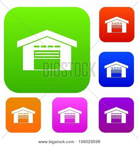 Warehouse set icon in different colors isolated vector illustration. Premium collection