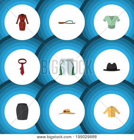 Flat Icon Clothes Set Of Trunks Cloth, Elegant Headgear, Casual And Other Vector Objects