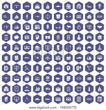 100 private property icons set in purple hexagon isolated vector illustration