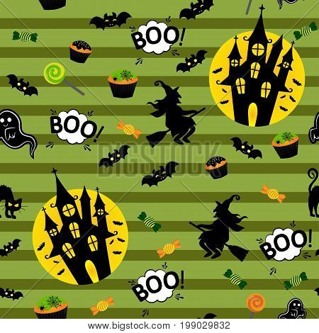 Abstract seamless pattern for girls or boys. Creative vector background with whitch, halloween. Funny wallpaper for textile and fabric. Fashion style. Colorful bright picture for children.
