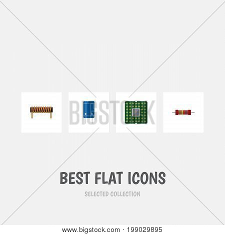 Flat Icon Device Set Of Bobbin, Transistor, Resistance And Other Vector Objects