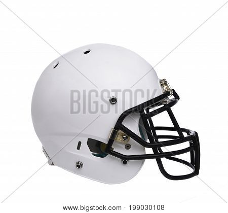 A White Football Helmet Isolated On White Without Any Markings Or Logos.