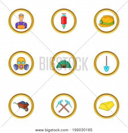 Underground work icons set. Cartoon set of 9 underground work vector icons for web isolated on white background