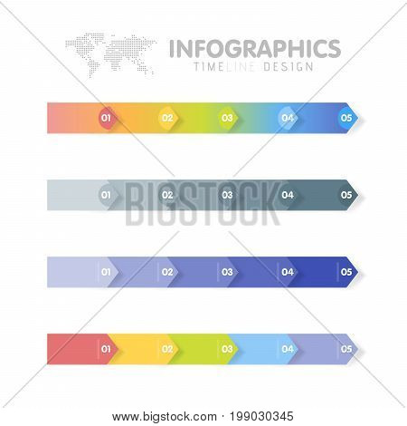 Business Infographics Template Set. Timeline With 5 Arrow Steps, Five Number Options. Vector