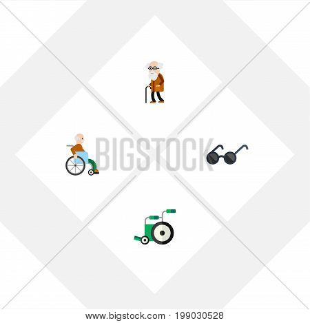 Flat Icon Disabled Set Of Ancestor, Spectacles, Handicapped Man Vector Objects