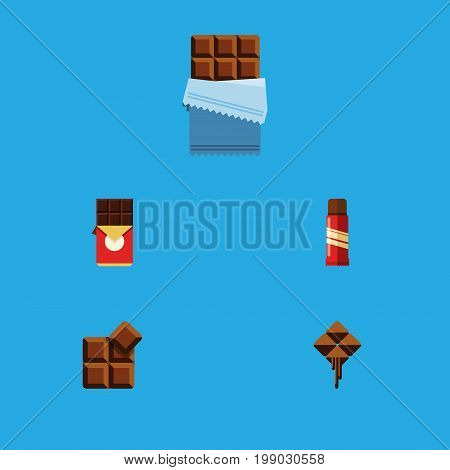 Flat Icon Chocolate Set Of Cocoa, Sweet, Delicious And Other Vector Objects
