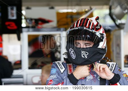 August 05, 2017 - Watkins Glen, New York, USA: Austin Dillon (3) hangs out in the garage during practice for the I LOVE NY 355 at Watkins Glen International in Watkins Glen, New York.