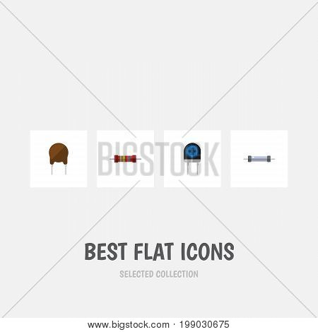 Flat Icon Device Set Of Triode, Resistor, Resistance And Other Vector Objects