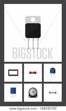 Flat Icon Device Set Of Receptacle, Resistor, Resistance And Other Vector Objects