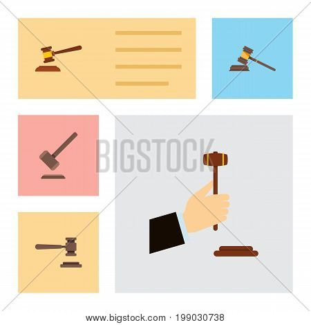 Flat Icon Court Set Of Law, Hammer, Legal And Other Vector Objects