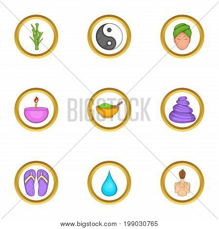 Relaxing massage icons set. Cartoon set of 9 relaxing massage vector icons for web isolated on white background