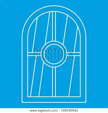 White arched window icon blue outline style isolated vector illustration. Thin line sign