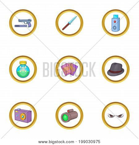 Secret weapon icons set. Cartoon set of 9 secret weapon vector icons for web isolated on white background
