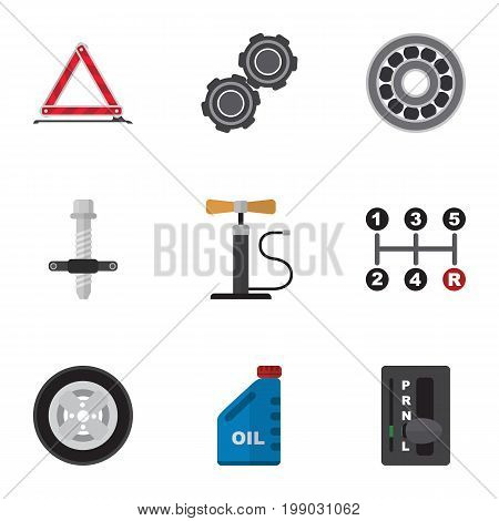 Flat Icon Service Set Of Petrol, Automatic Transmission, Tire And Other Vector Objects