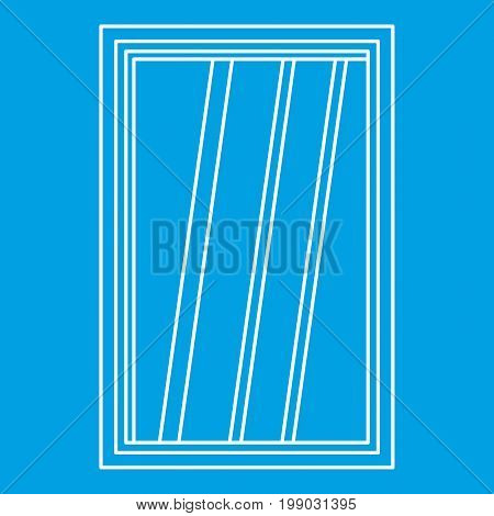 White window frame icon blue outline style isolated vector illustration. Thin line sign