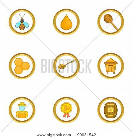 Competition of beekeepers icons set. Cartoon set of 9 competition of beekeepers vector icons for web isolated on white background