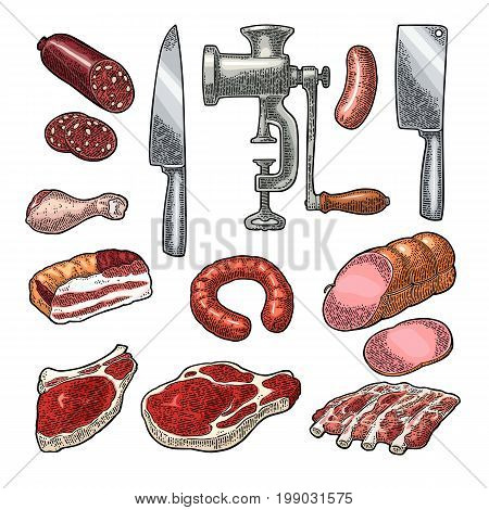 Set meat products and kitchen equipment. Brisket, sausage, meat grinder, steak, chicken leg, knife, ribs. Vintage color vector engraving illustration. Isolated on white background.