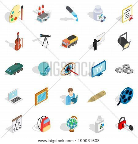Proceedings icons set. Isometric set of 25 proceedings vector icons for web isolated on white background